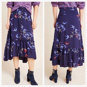 Anthropologie Maeve Navy Bird Flounce Midi Skirt